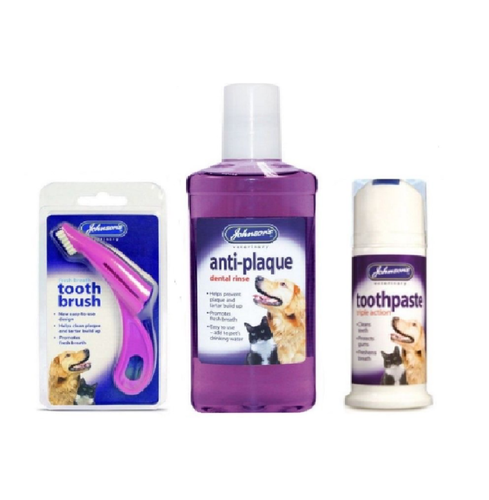 JOHNSONS PET DENTAL CARE - TOOTHPASTE - TOOTHBRUSH - ANTI-PLAQUE