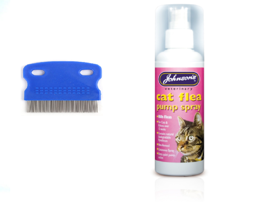 JOHNSON'S CAT FLEA SPRAY & STRONG FLEA COMB