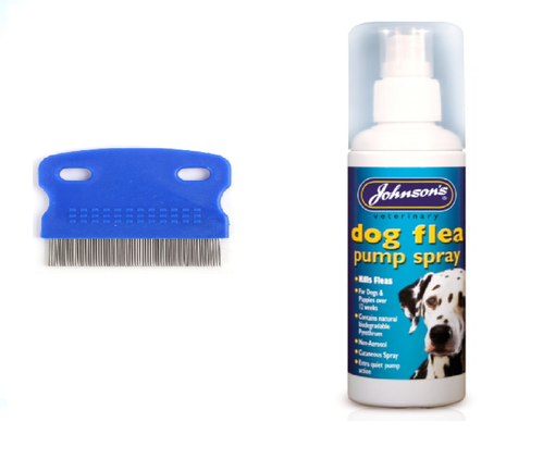 JOHNSON'S DOG FLEA SPRAY & STRONG FLEA COMB