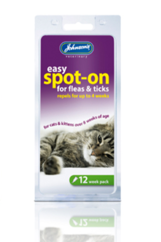 EASY SPOT ON DROPS FLEAS & TICKS FOR CATS -12wks