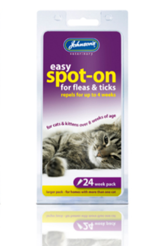 EASY SPOT ON DROPS FLEAS & TICKS FOR CATS - 24wks