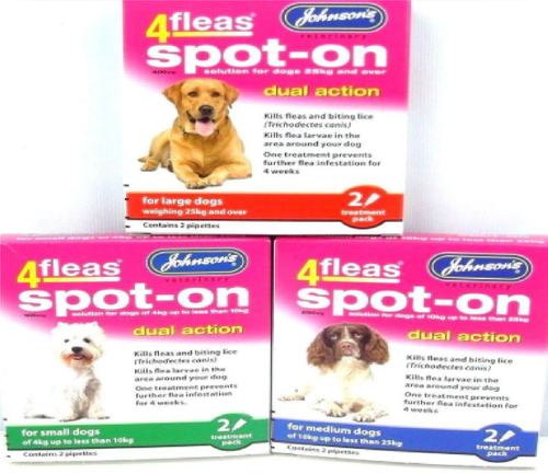 "JOHNSONS 4FLEAS ""DUAL ACTION"" SPOT ON FLEA TREATMENT FOR DOGS"